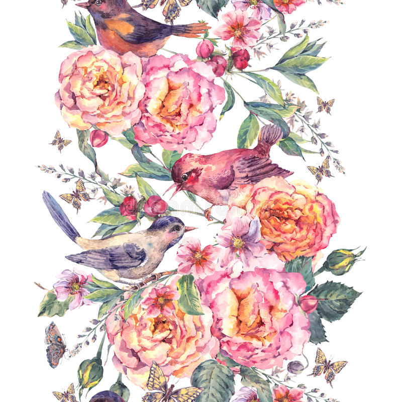 Watercolor seamless border. Birds and rose. Vintage watercolor floral seamless border. Birds and rose. Blooming branch with gentle pink flowers, butterflies and stock illustration
