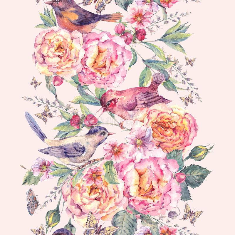 Watercolor seamless border. Birds and rose. Vintage watercolor floral seamless border. Birds and rose. Blooming branch with gentle pink flowers, butterflies and vector illustration