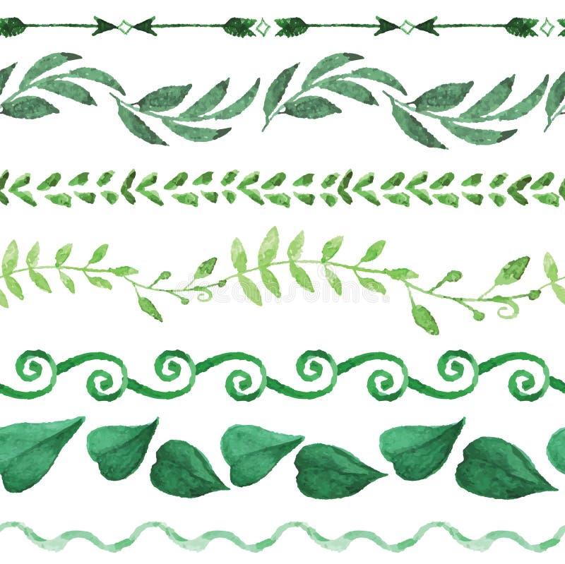 Watercolor seamless border set.Vintage floral royalty free illustration