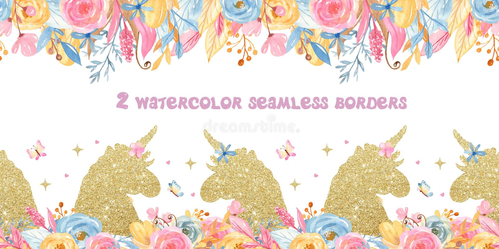 Watercolor seamless border with unicorns, flowers, rainbow, gold. vector illustration