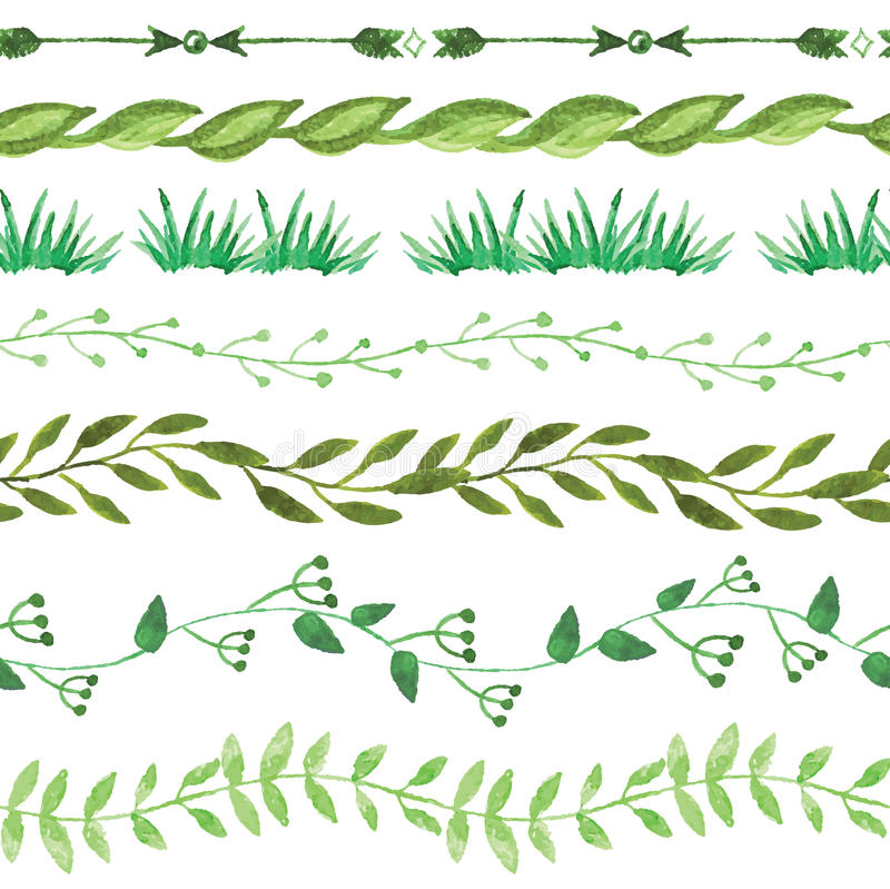 Watercolor seamless borders set.Vintage floral royalty free illustration