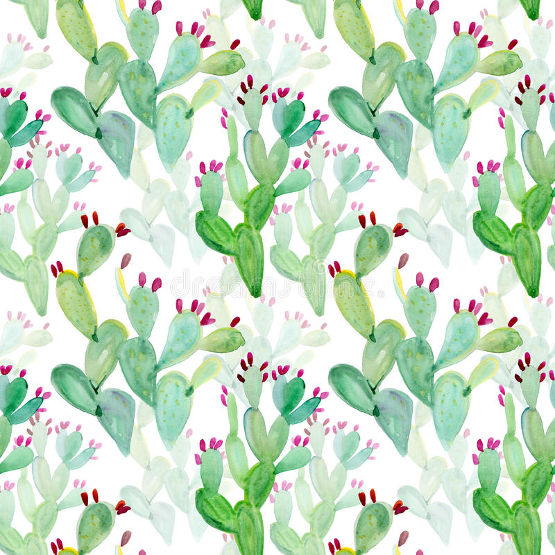 Free Watercolor Seamless Cactus Pattern Background Royalty Free Stock Photos - 44159118