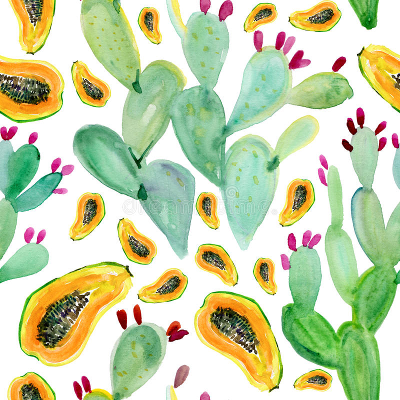 Watercolor seamless cactus pattern background stock illustration