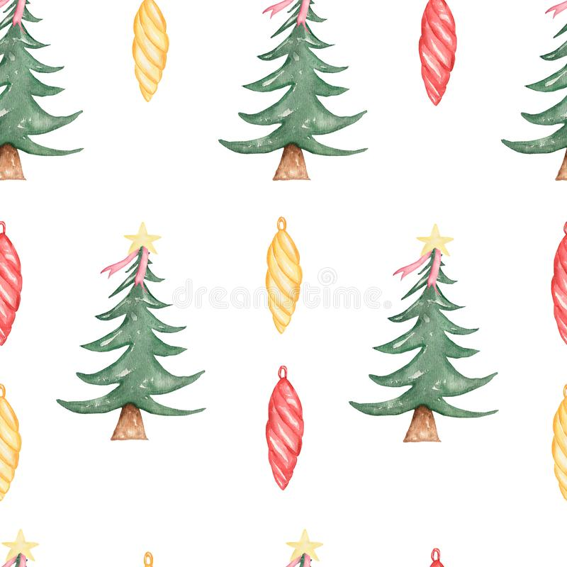 Watercolor seamless christmas green trees with colorful balls  pattern on white background. Design for Happy New Year and royalty free illustration