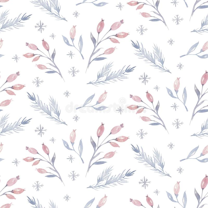Watercolor seamless Christmas pattern with floral forest tree, snowflakes, pine branches. Penguin winter snow hand drawn royalty free illustration
