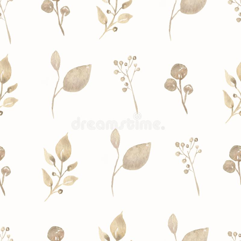 Watercolor Seamless delicate leaves pattern. Beautiful pattern for design. Trendy print. Watercolor Seamless delicate  leaves pattern. Beautiful pattern for royalty free illustration