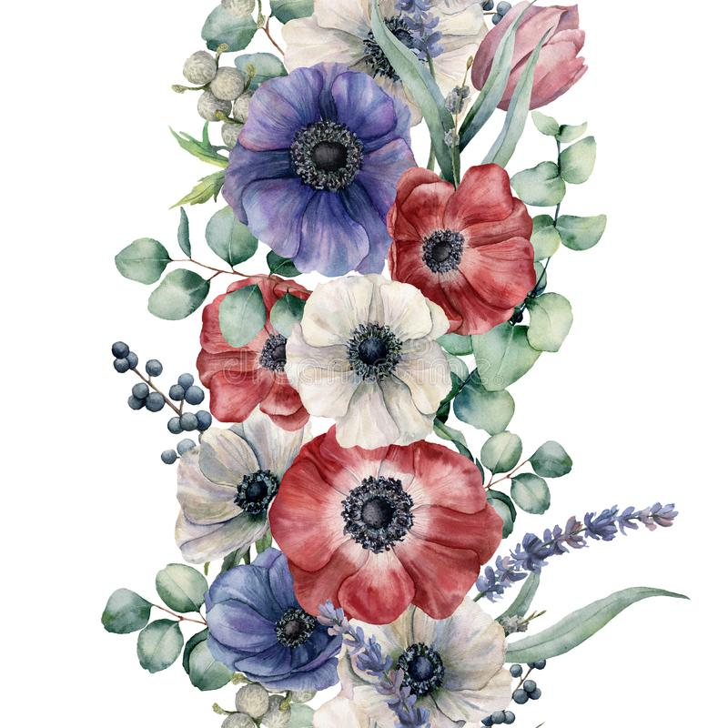 Watercolor seamless floral border. Hand painted bouquet with red, white and blue anemone. eucalyptus leaves and branch stock illustration