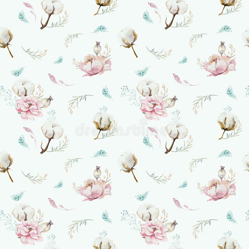 Watercolor seamless floral pattern with cotton. Bohemian natural patterns: leaves, feathers, flowers, rose boho white. Watercolor seamless floral pattern with vector illustration