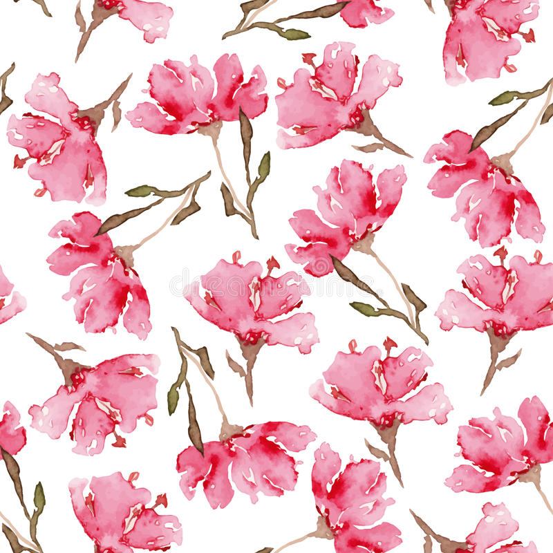 Watercolor seamless flowers pattern stock illustration