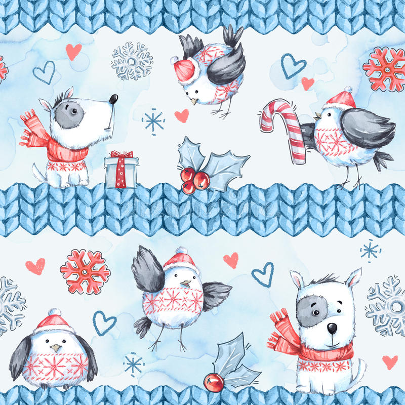 Watercolor seamless greeting pattern with cute flying birds, dogs and knitted borders. New Year. Celebration. Illustration. Merry Christmas. Can be use in stock illustration