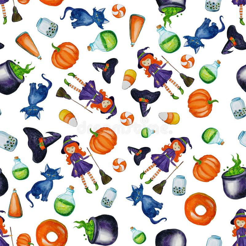 Watercolor seamless halloween pattern or background. Funny and smiling cartoon characters: witch, spider, pumpkin, ghost, cat, bat royalty free illustration