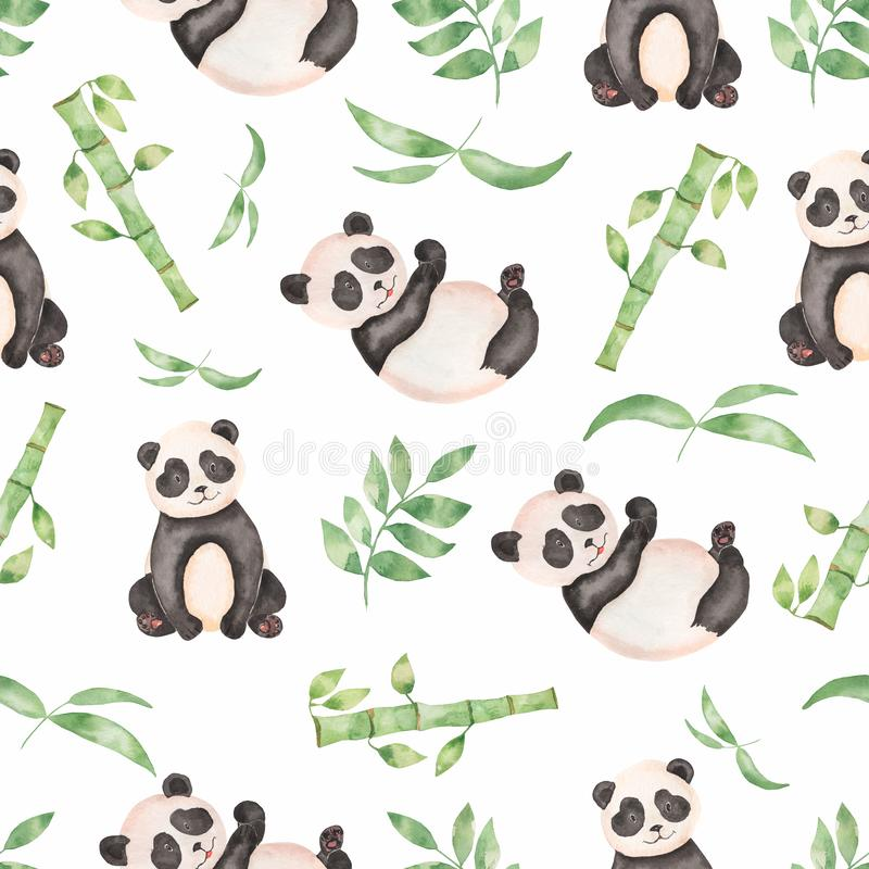 Watercolor seamless hand drawn Tropical leaves bamboo tree pattern with panda bear. Aquarelle wild leaves with wild animal for vector illustration