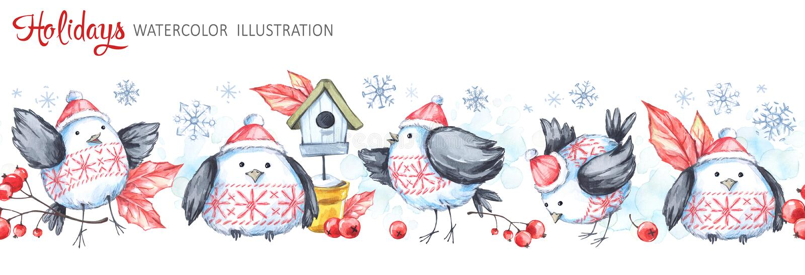Watercolor seamless horizontal garland. Funny birds, birdhouse, berries, leaves and snowflakes. Cretive New Year royalty free illustration