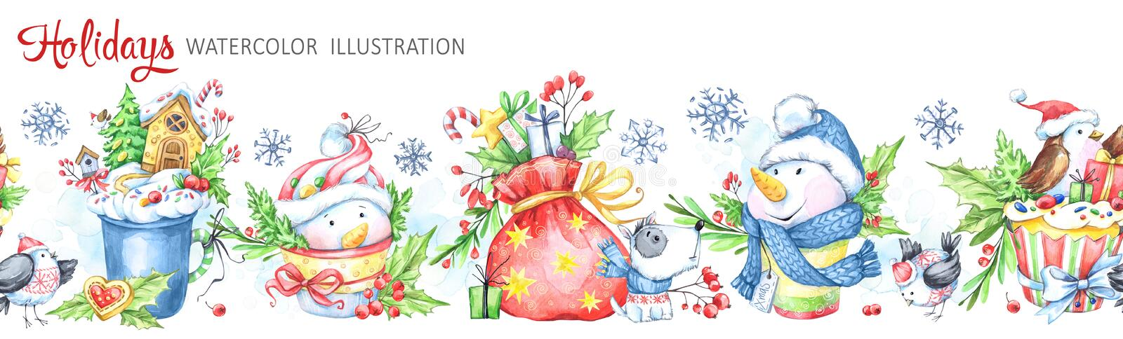 Watercolor seamless horizontal garland. Snowmens, birds, cup, bag, berries, leaves and gifts. Cretive New Year. Merry stock illustration