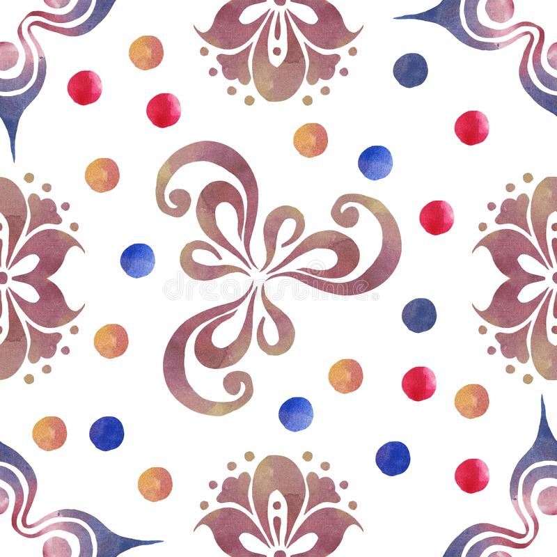 Watercolor seamless ornamentic pattern royalty free stock images