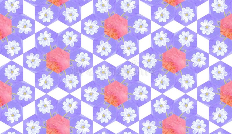 Watercolor seamless patchwork pattern with white flowers. stock illustration