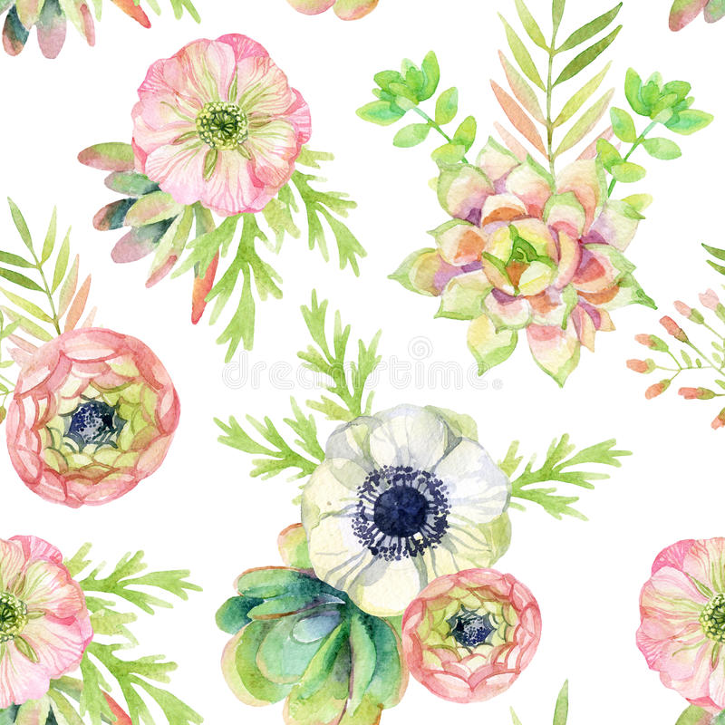 Watercolor seamless pattern with anemone and herbs stock illustration
