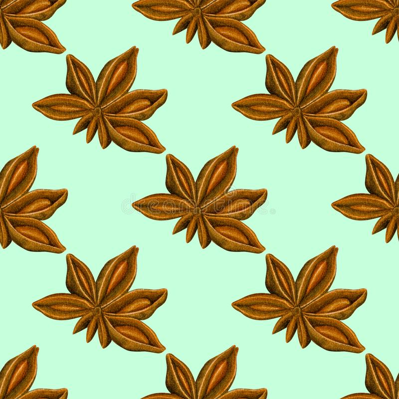 Watercolor seamless pattern with anise. Hand drawn botanic design. Template for a banner, poster, notebook, invitation. Illustration for your design royalty free stock images