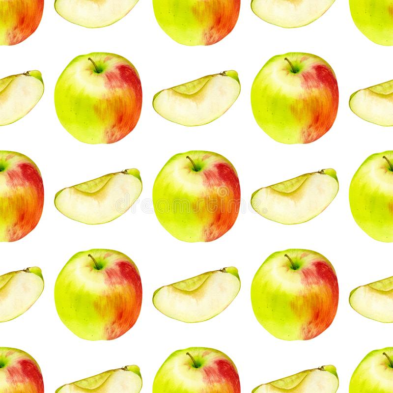 Watercolor seamless pattern with apples. Hand drawn botanic design. Template for a banner, poster, notebook, invitation. Illustration for your design stock photo