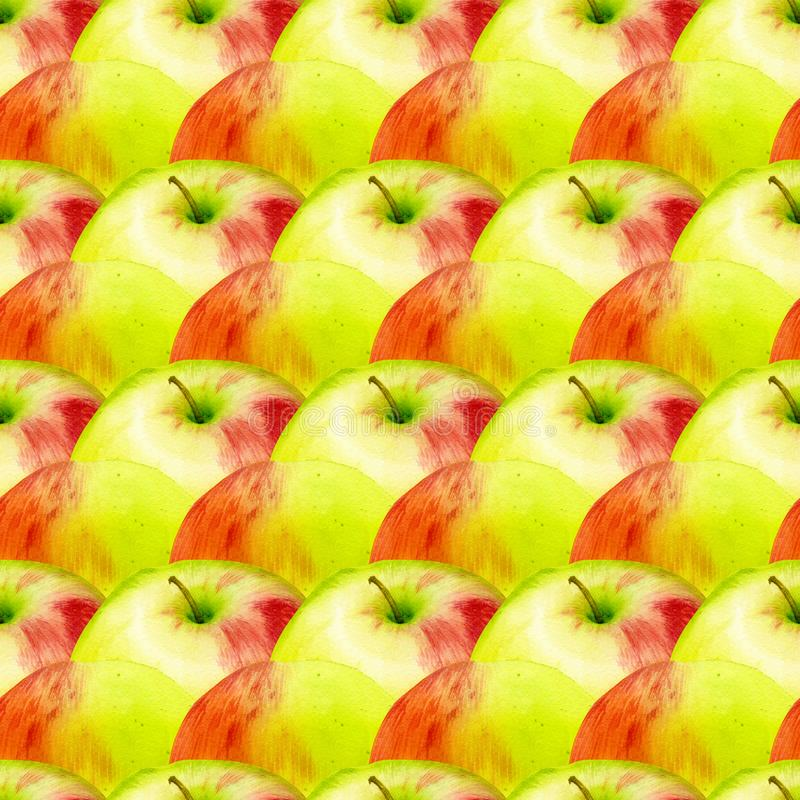 Watercolor seamless pattern with apples. Hand drawn botanic design. Template for a banner, poster, notebook, invitation stock images