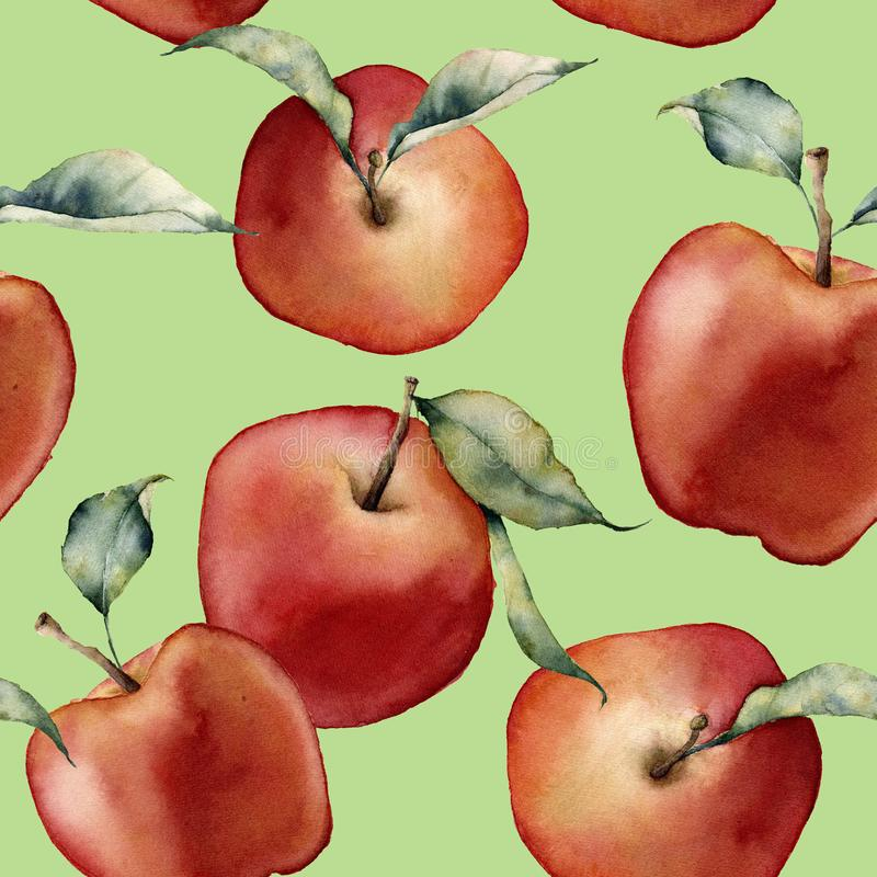 Watercolor seamless pattern with apples. Hand painted red apples with leaves on green background. Botanical stock illustration