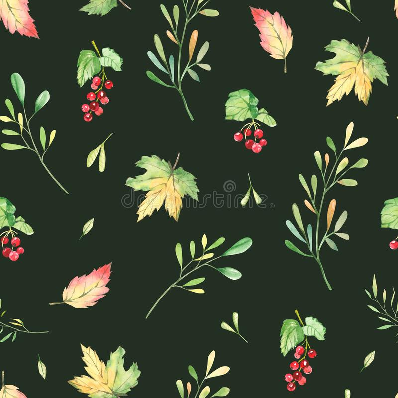 Watercolor seamless pattern autumn,  fall ornament with leaves, branches and barries. Greenery floral  on dark background for wedd royalty free illustration