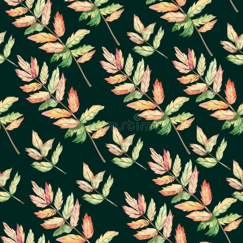 Watercolor seamless pattern autumn leaves and branches. stock illustration