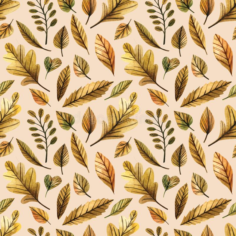 Watercolor seamless pattern autumn leaves on a white background. Hand drawn illustration. Design for wedding invitations, greeting vector illustration
