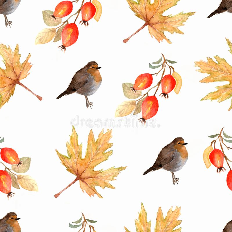 Watercolor seamless pattern with autumn marple leaves,branches of dog rose berries and birds. vector illustration