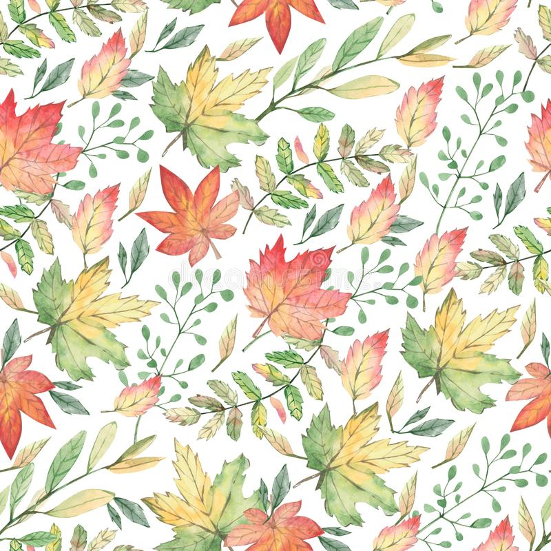 Watercolor seamless pattern autumn ornament with leaves and branches. Greenery floral for wedding invitations, holiday, greeting c royalty free illustration