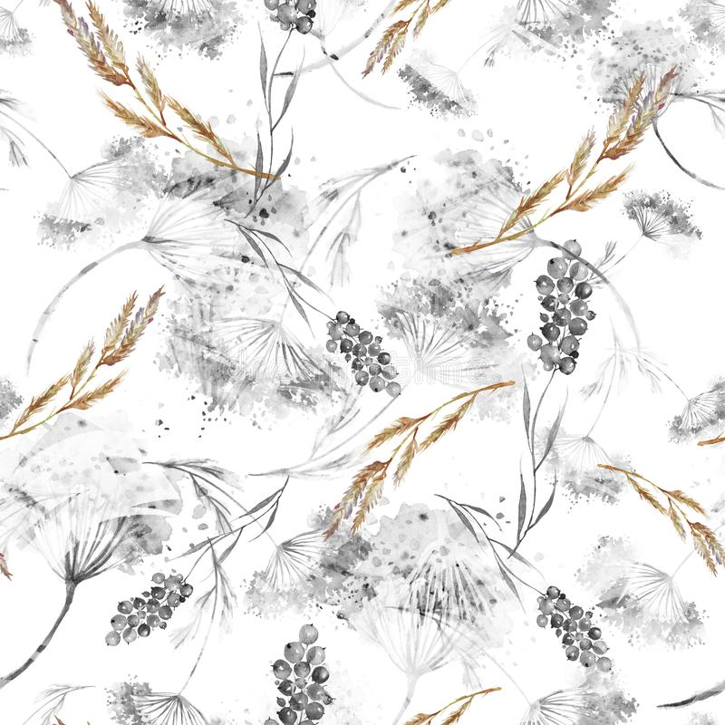 Watercolor seamless pattern, background with a floral pattern. Watercolor background, drawing with autumn with forest flowers. Leaves, plants, berries branch stock illustration