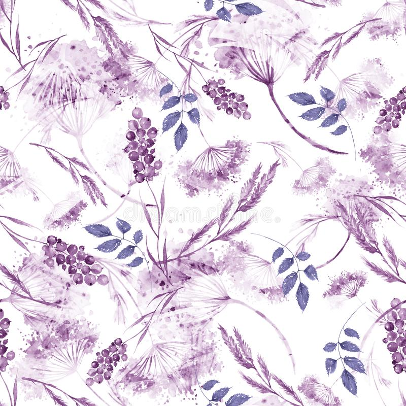 Watercolor seamless pattern, background with a floral pattern. Watercolor background, drawing with autumn with forest flowers. Leaves, plants, berries branch royalty free illustration