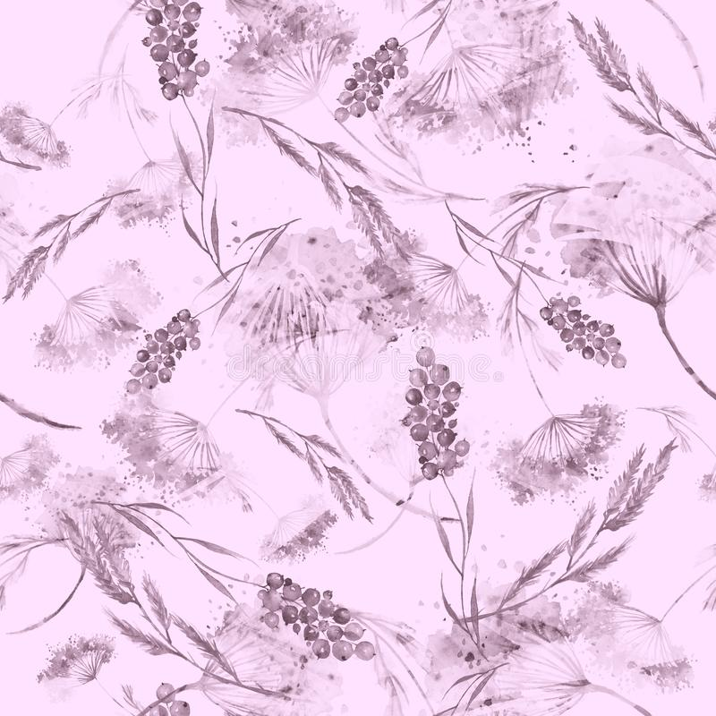 Watercolor seamless pattern, background with a floral pattern. Watercolor background, drawing with autumn with forest flowers. Leaves, plants, berries branch vector illustration
