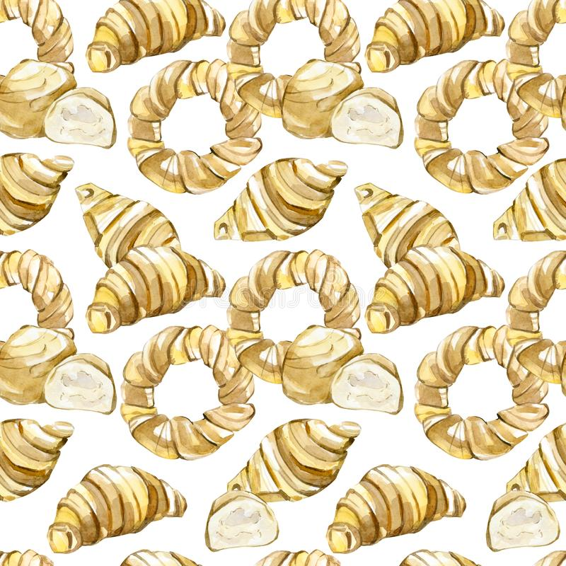 Watercolor seamless pattern baking: Croissants, bagels, bread isolated on background. Hand painted watercolor seamless pattern baking: Croissants, bagels, bread royalty free illustration