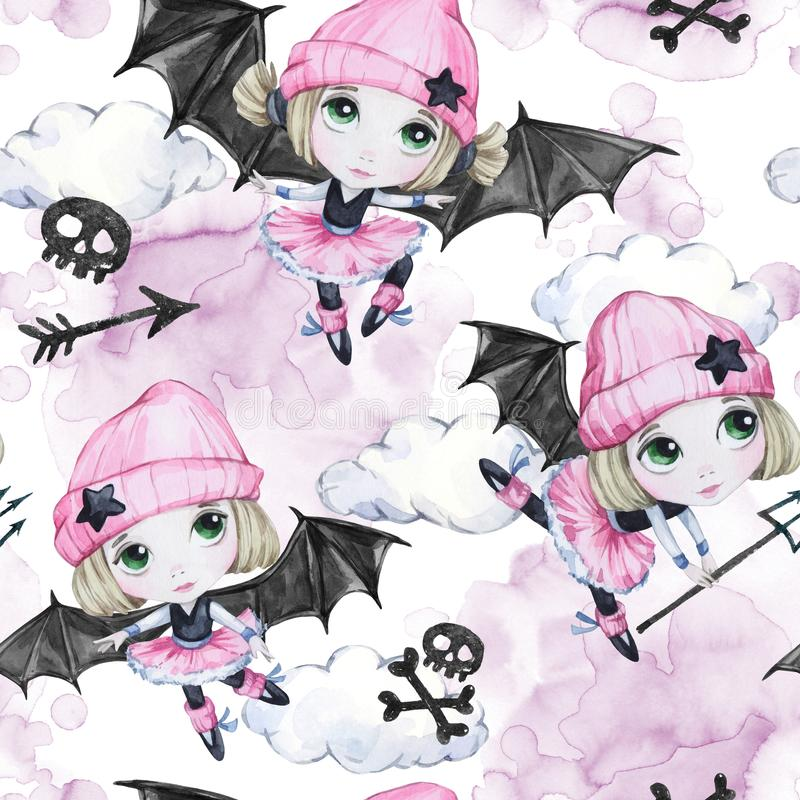 Watercolor seamless pattern. Ballet girls with bat wings and skulls. Dancing little witches. Teenager. Halloween horror vector illustration