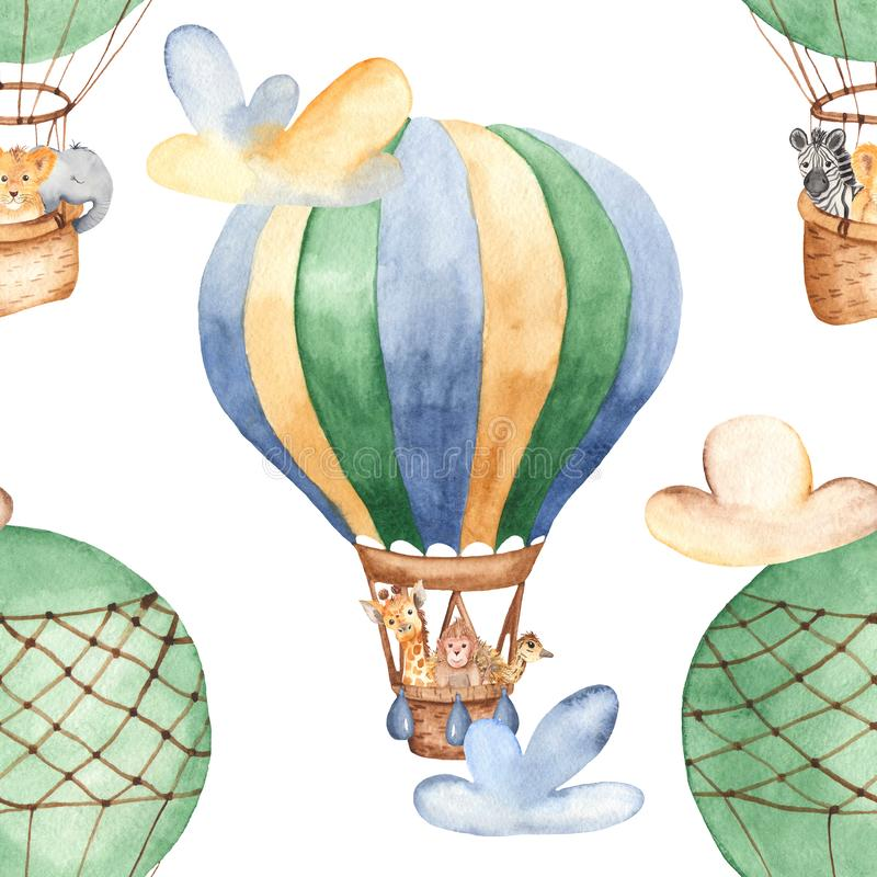Watercolor seamless pattern with balloon and cute animals. stock image
