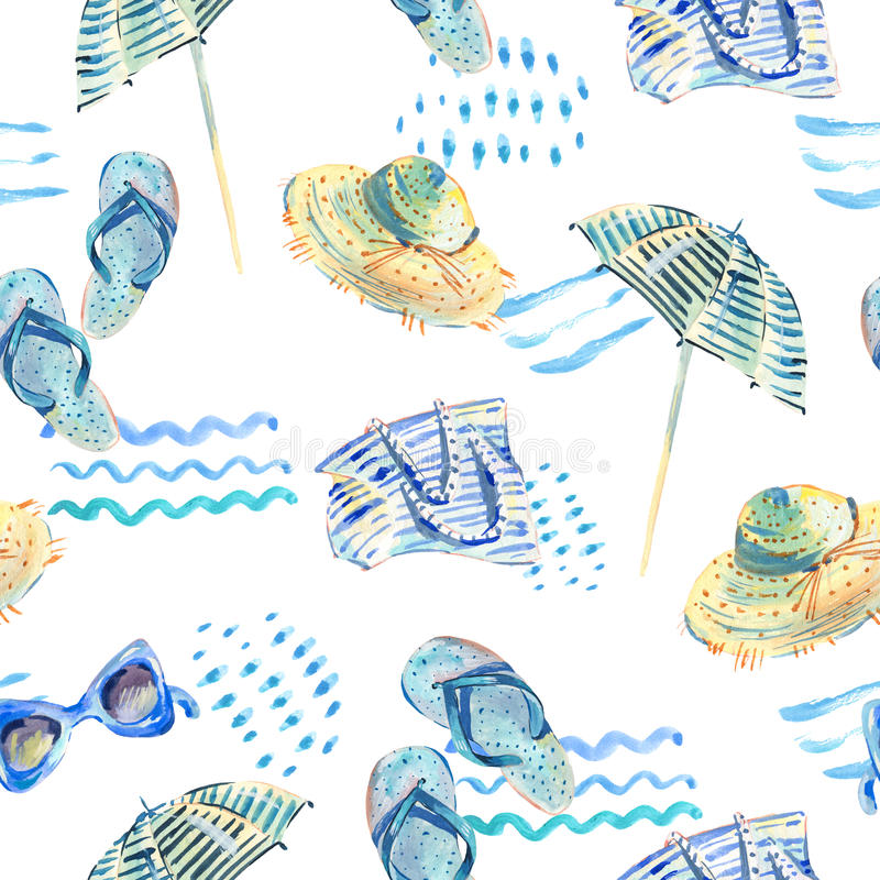 Watercolor seamless pattern with beach objects stock illustration