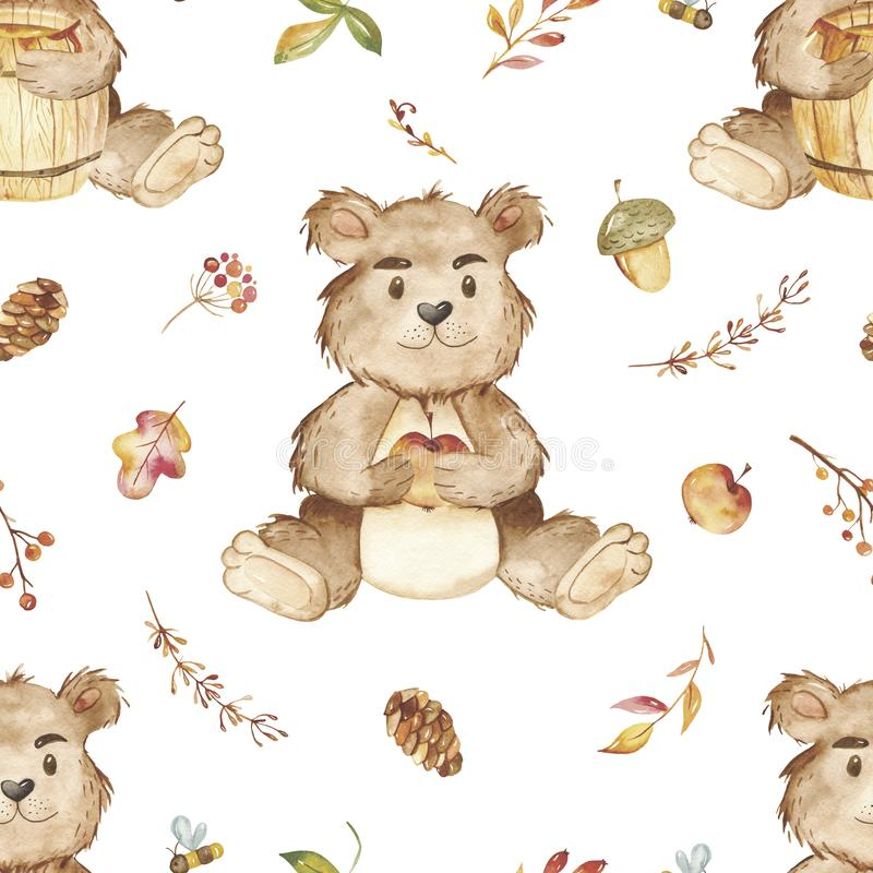 Watercolor seamless pattern with bear, hedgehog, honey, autumn leaves. stock illustration