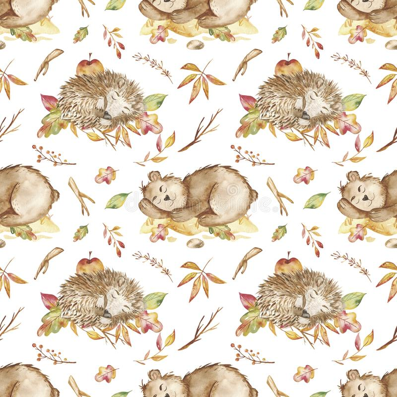 Watercolor seamless pattern with bear, hedgehog, honey, autumn leaves. Texture for wallpaper, packaging, baby shower, prints, cover design, nursery royalty free illustration