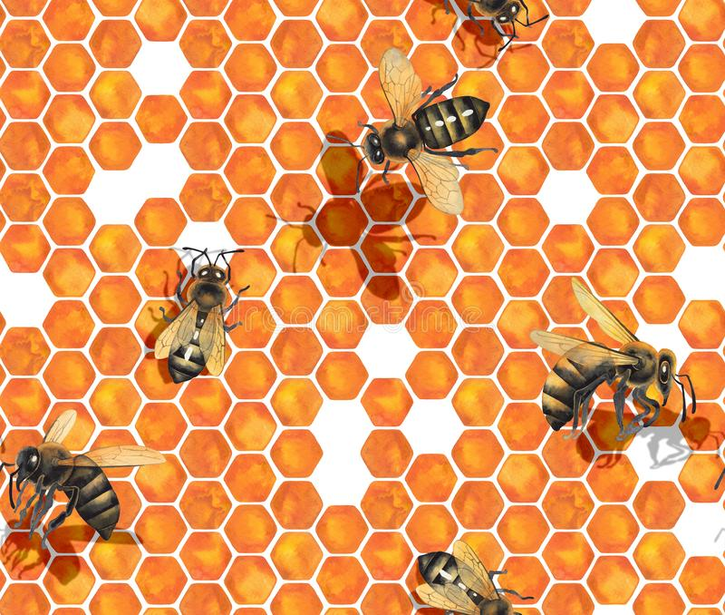 Watercolor seamless pattern of bees crawling on honeycomb stock images