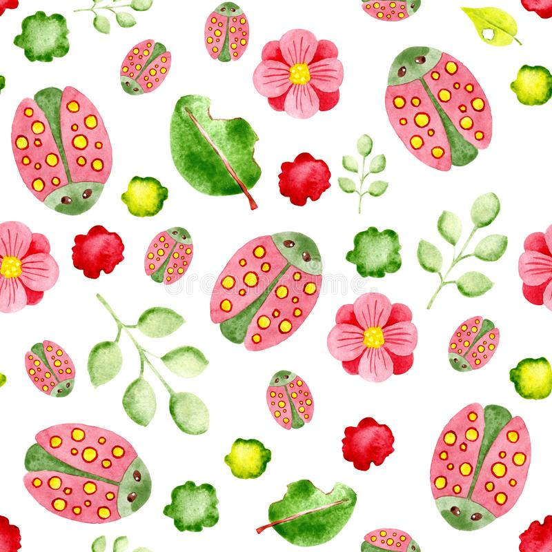 Watercolor seamless pattern with beetles and plants. For design of background, pattern, wallpaper, wrapper, print, fabric, clothes royalty free stock images
