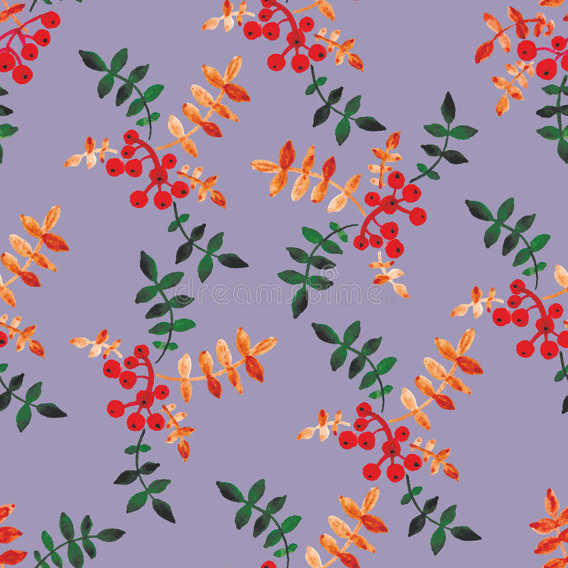Watercolor seamless pattern with berries and leaves. vector illustration