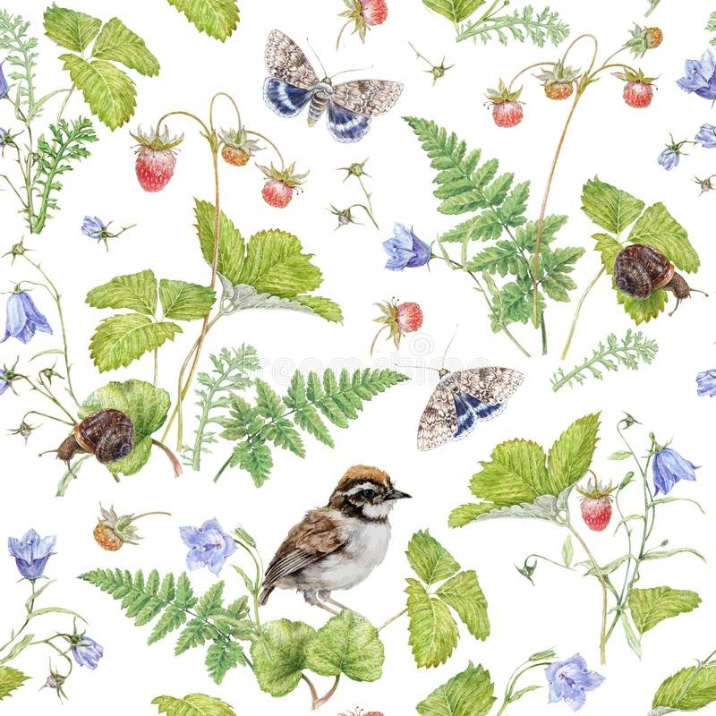 Watercolor seamless pattern with berry and bird stock image