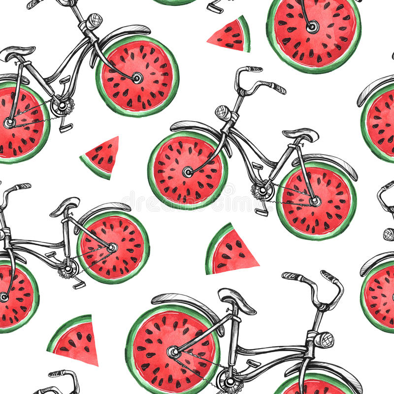 Watercolor seamless pattern bicycles with watermelon wheels. Colorful summer background. vector illustration