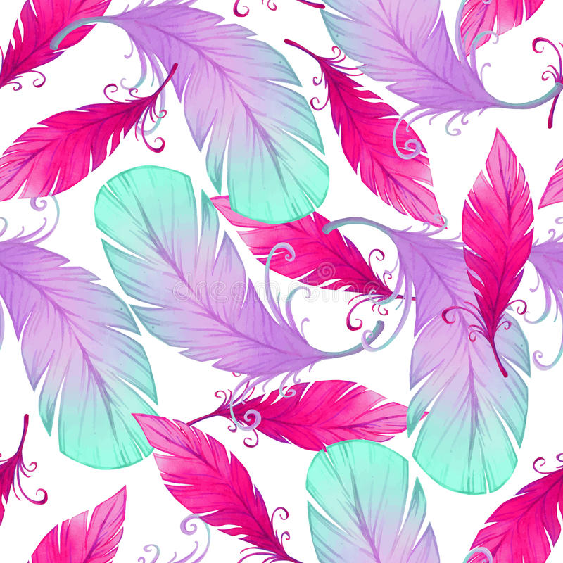 Watercolor seamless pattern with bird feathers. royalty free illustration