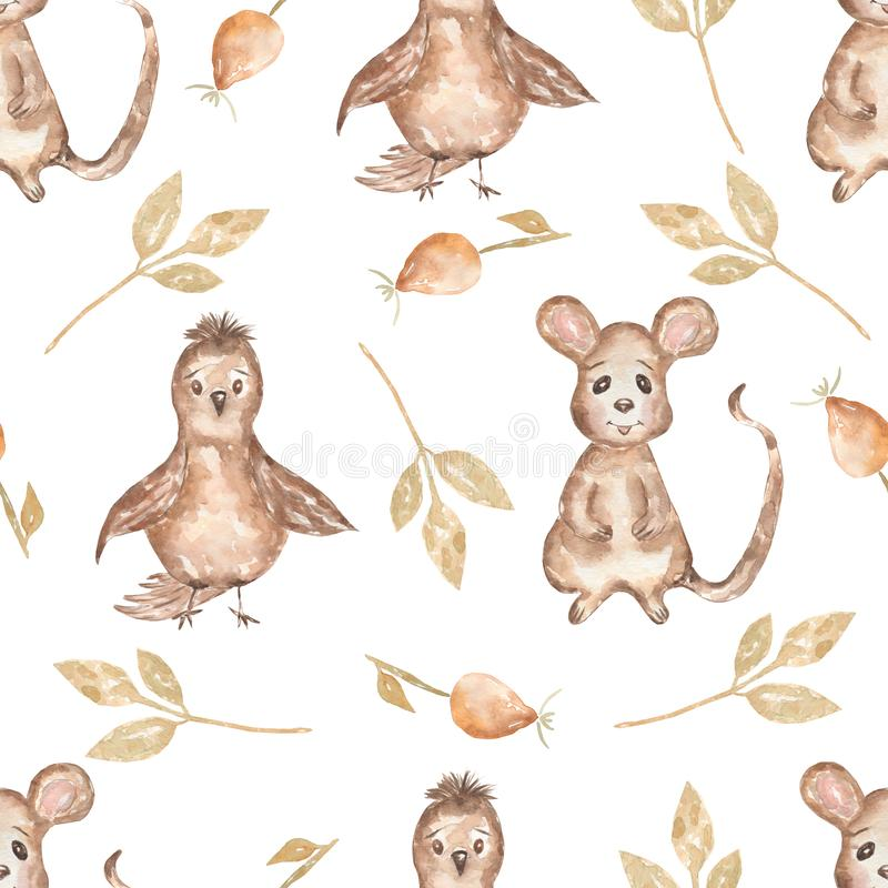 Watercolor seamless pattern with bird and leaves,mouse and dog rose. Hand drawn woodland animals background. Autumn. Watercolor  seamless pattern with bird and stock illustration