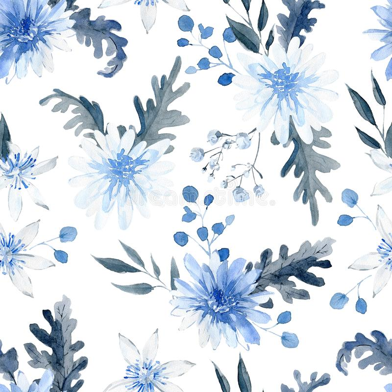 Watercolor seamless pattern with black and blue plants royalty free stock photos