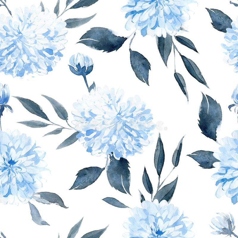 Watercolor seamless pattern with black and blue plants stock photos