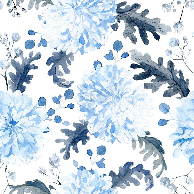Watercolor seamless pattern with black and blue plants royalty free stock photography