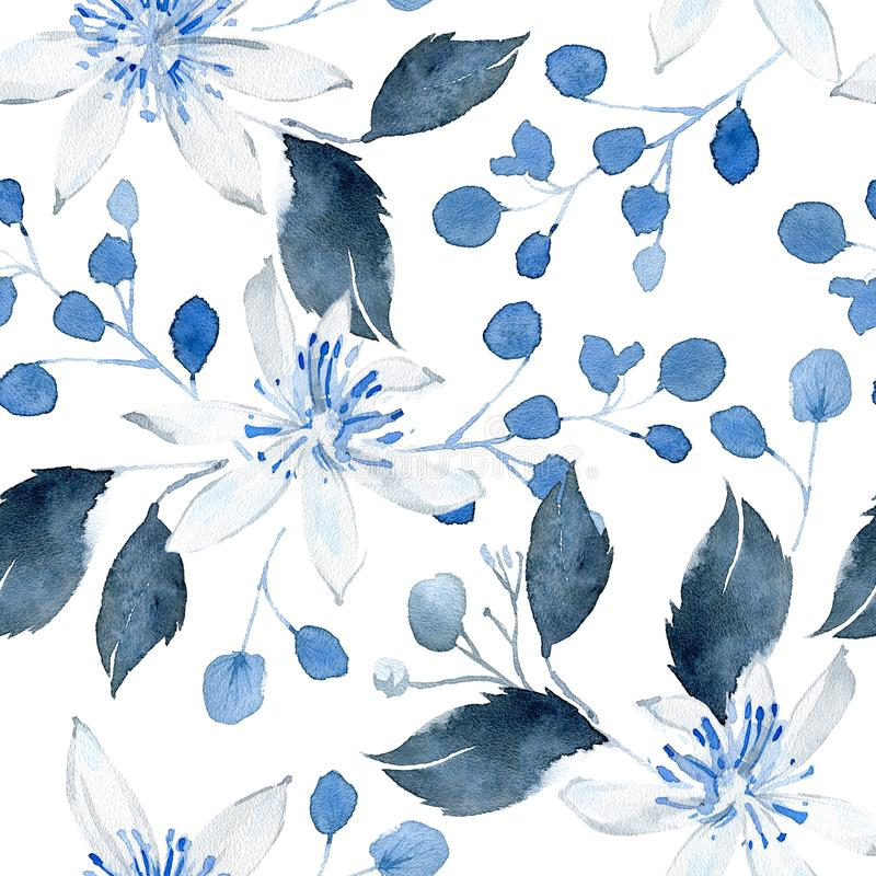 Watercolor seamless pattern with black and blue plants stock photography